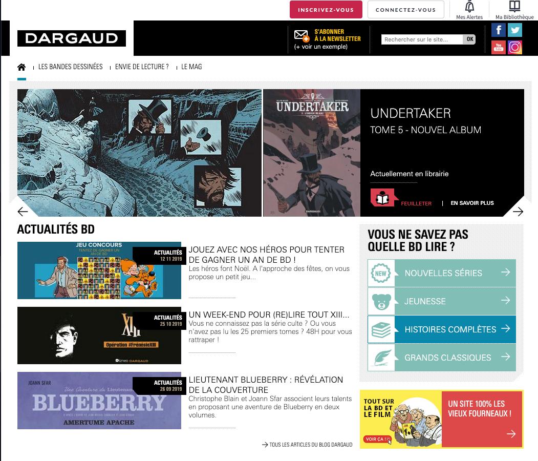 Développement pour Dargaud.com